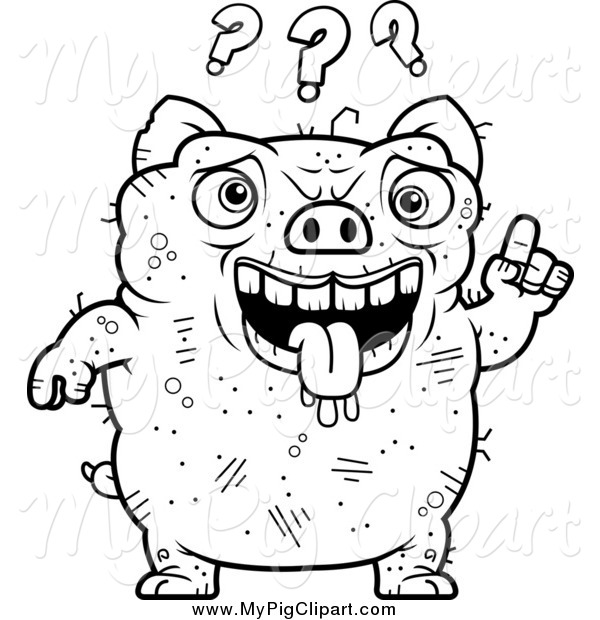 Swine Clipart of a Black and White Confused Ugly Pig