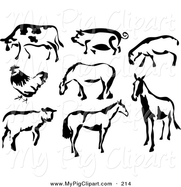 Swine Clipart of a Black and White Cow, Pig, Sheep, Chicken and Horses in Paintbrush Stroke Style on White