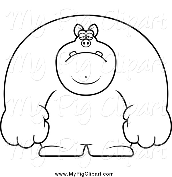 Swine Clipart of a Black and White Depressed Buff Pig