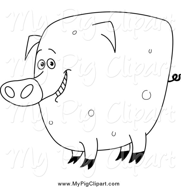Swine Clipart of a Black and White Fat Happy Pig