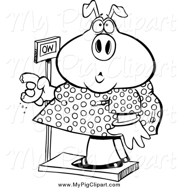 Swine Clipart of a Black and White Female Heavy Pig Eating a Donut on the Scale