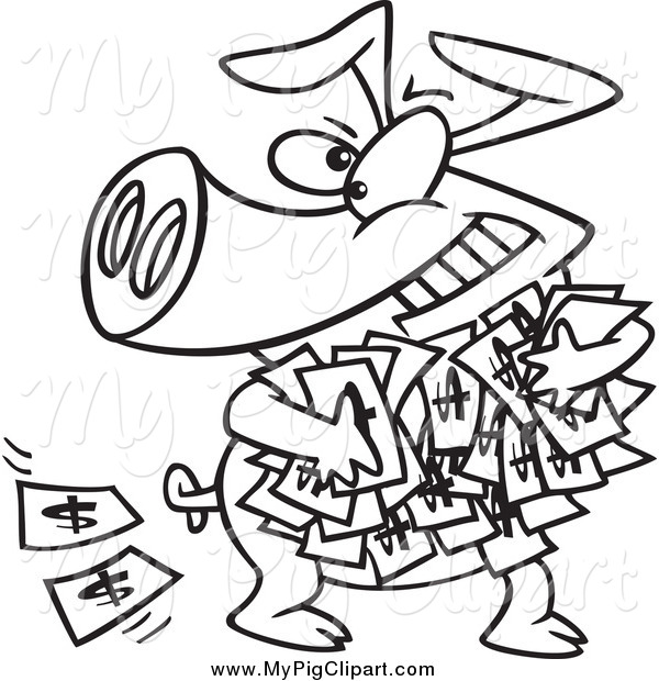 Swine Clipart of a Black and White Greedy Pig with Money