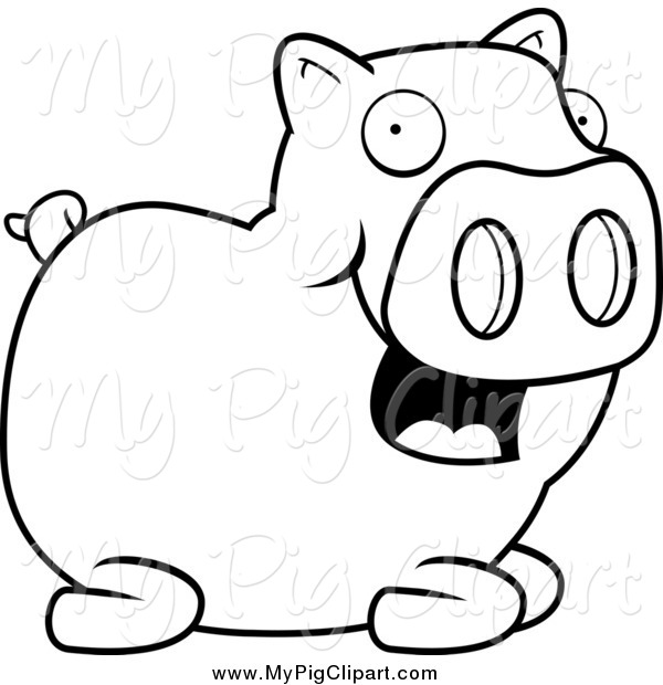 Swine Clipart of a Black and White Happy Pig