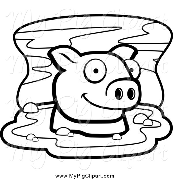 : Swine Clipart of a Black and White Happy Pig in Mud