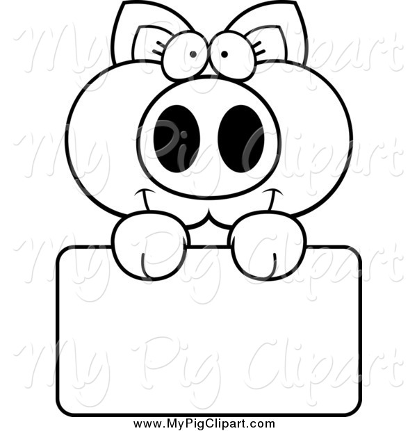 Swine Clipart of a Black and White Happy Piglet Holding a Sign