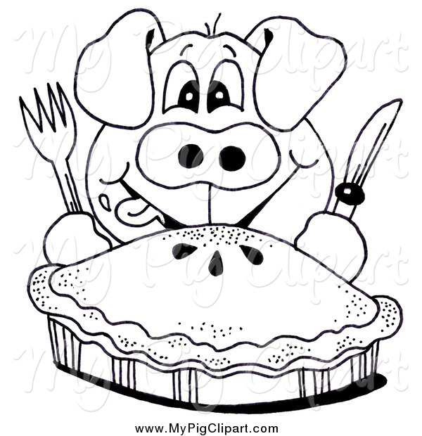 Swine Clipart of a Black and White Hungry Pig and Pie