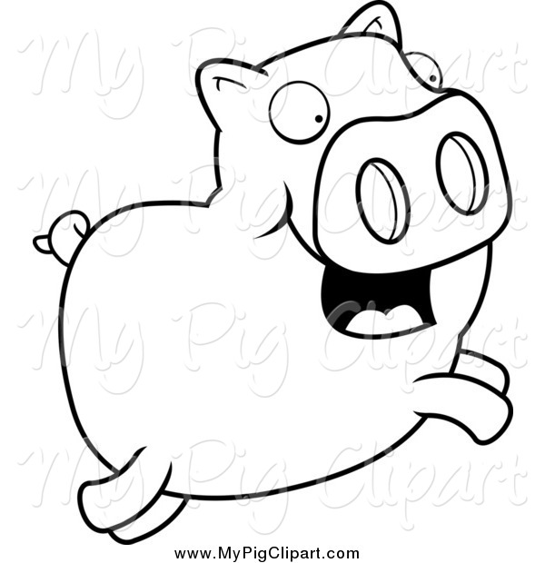 : Swine Clipart of a Black and White Leaping Happy Pig