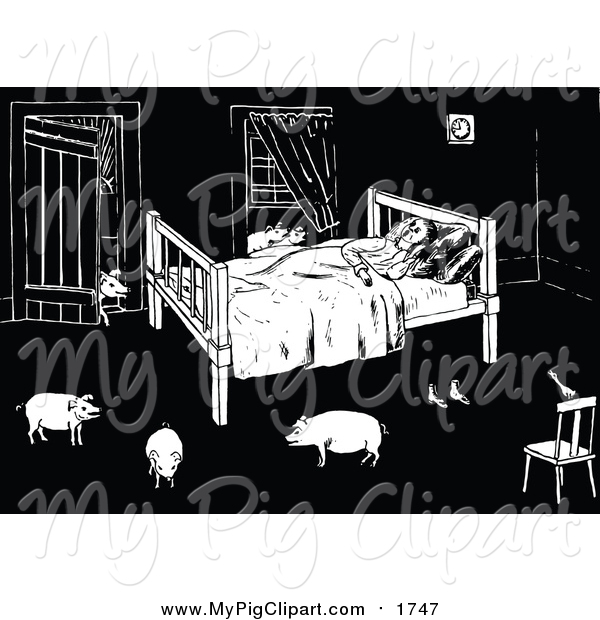 Swine Clipart of a Black and White Man Sleeping with Pigs in His Room