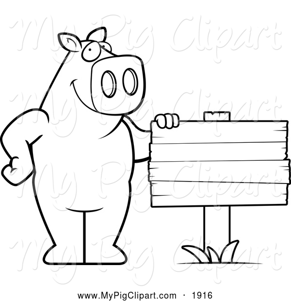 Swine Clipart of a Black and White Pig Beside a Blank Wood Sign
