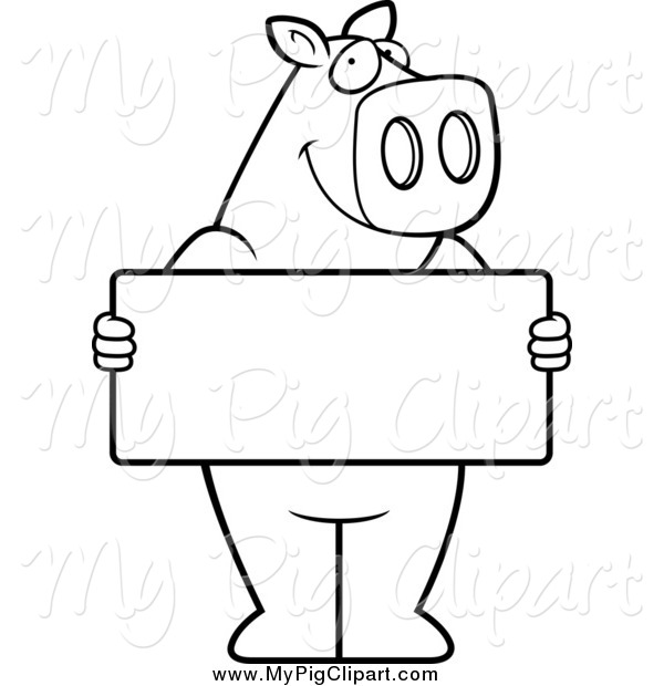 : Swine Clipart of a Black and White Pig Holding a Sign Board