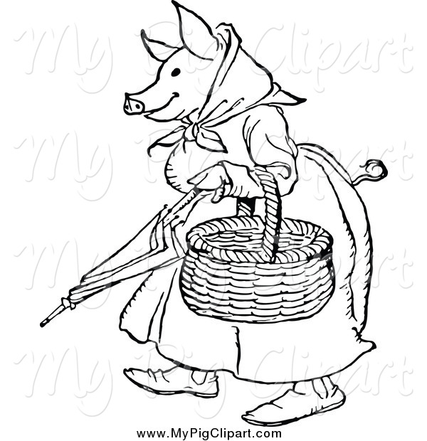 Swine Clipart of a Black and White Pig Lady Carrying a Basket