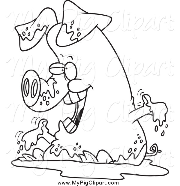 Swine Clipart of a Black and White Pig Playing in Mud