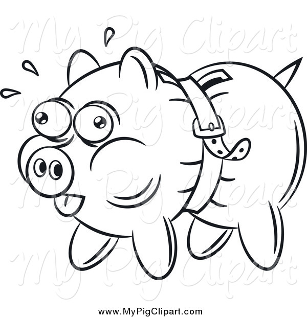 : Swine Clipart of a Black and White Piggy Bank Being Squeezed by a Belt