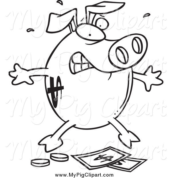 : Swine Clipart of a Black and White Piggy Bank over Money