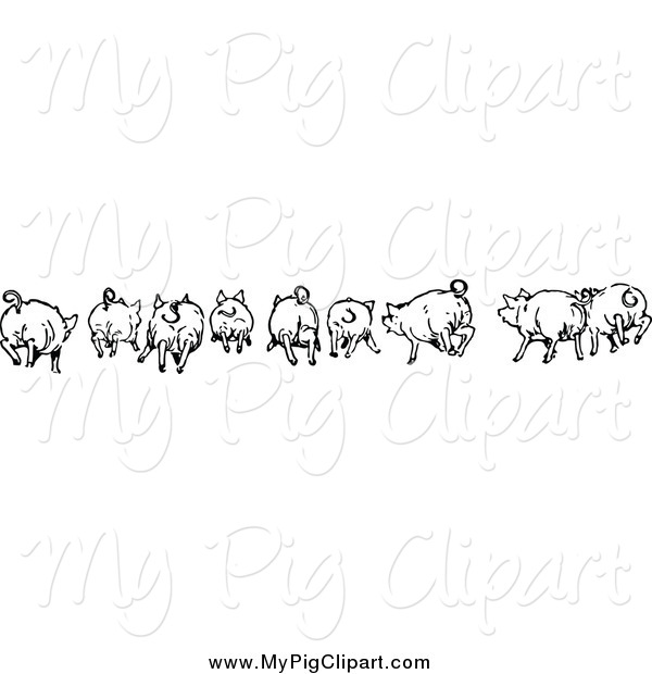 Swine Clipart of a Black and White Rear View of Running Pigs
