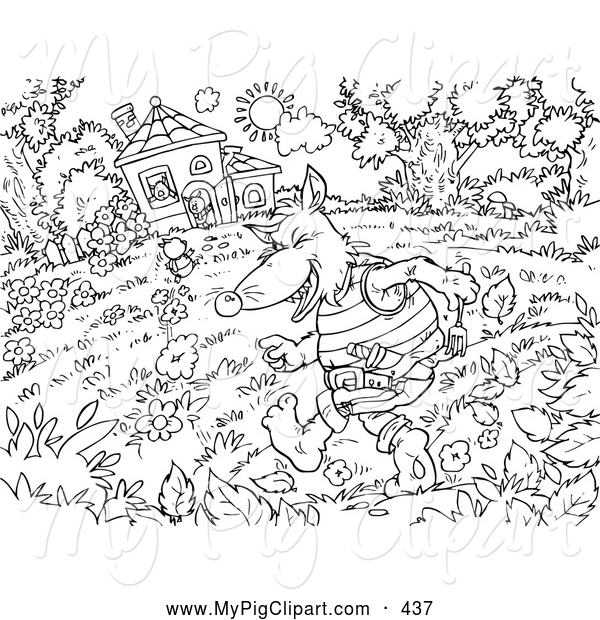 Swine Clipart of a Black and White Three Little Pigs and the Big Bad Wolf Coloring Page Outline, the Wolf Running Towards the House
