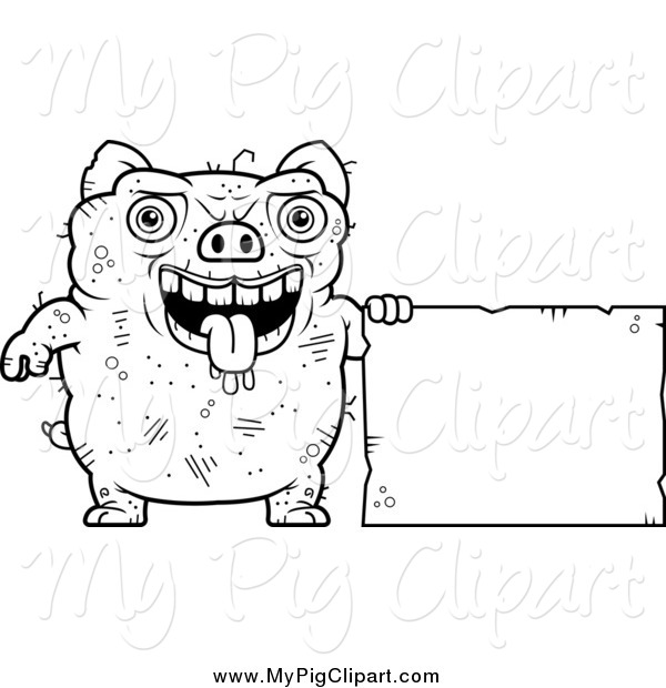 Swine Clipart of a Black and White Ugly Pig with a Sign