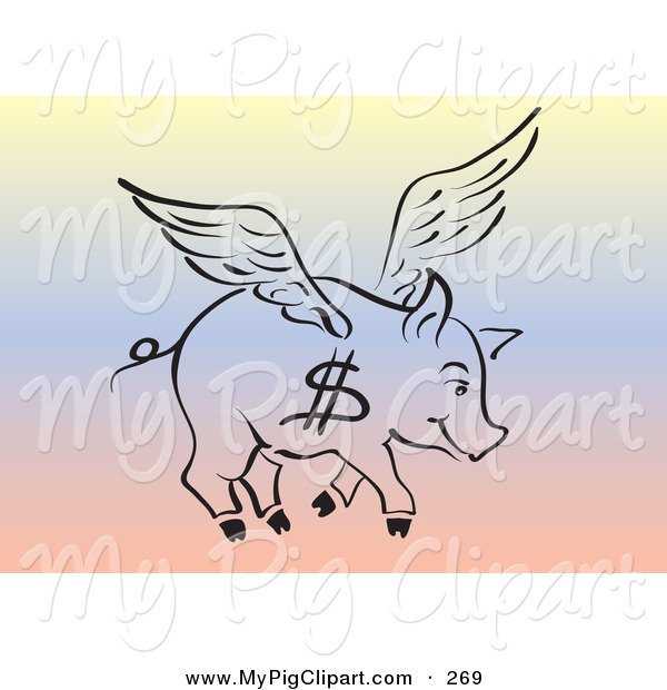 Swine Clipart of a Black Outline of a Flying Pig with a Dollar Sign on Its Side over a Rainbow Background