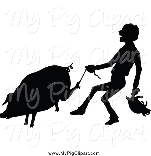 Swine Clipart of a Black Silhouetted Farmer Carrying a Piglet and Tugging a String on a Pigs Foot