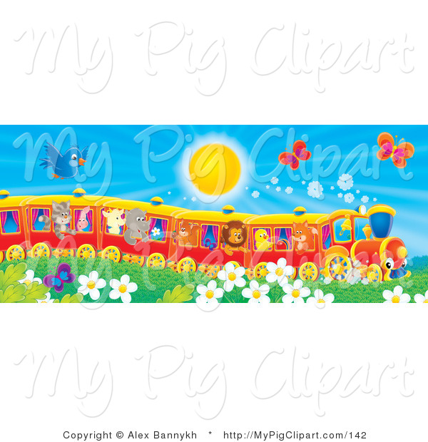 Swine Clipart of a Blue Bird and Red Butterflies Flying over Flowers near a Cat, Pig, Goat, Rhino, Squirrel, Lion, Chick and Fox on a Train on a Sunny Spring Day
