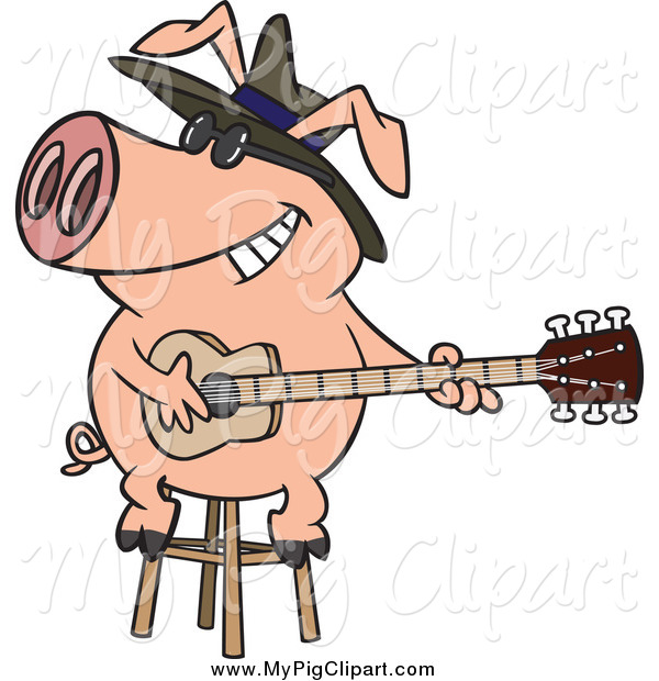 Swine Clipart of a Blues Pig Playing a Guitar