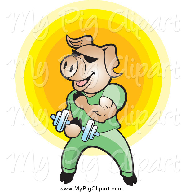 : Swine Clipart of a Bodybuilder Pig Lifting Weights over a Yellow Circle