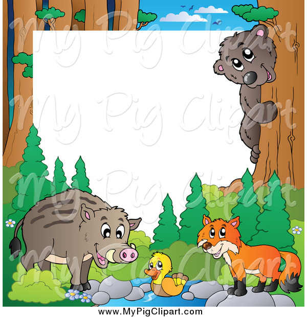Swine Clipart of a Border of a Wild Pig and Forest Animals
