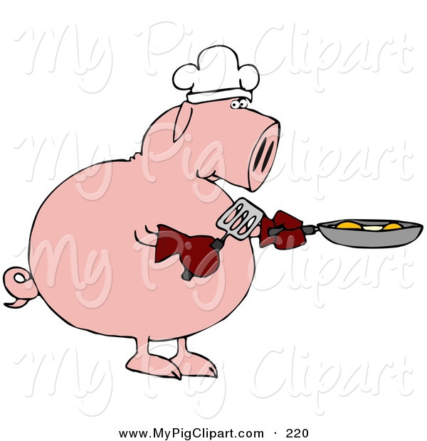 Swine Clipart of a Breakfast Chef Pink Pig Cooking Eggs in a Pan