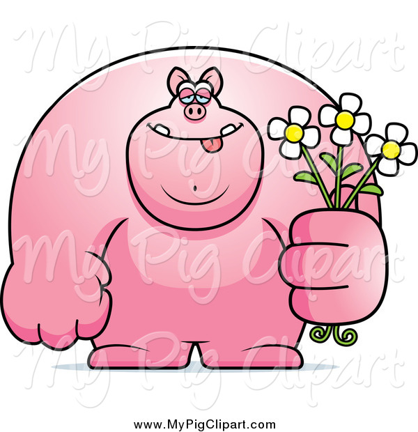 Swine Clipart of a Brute Pig Holding Flowers