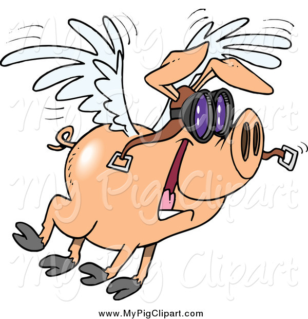 : Swine Clipart of a Cartoon Flying Pig and Wearing Pilot Goggles