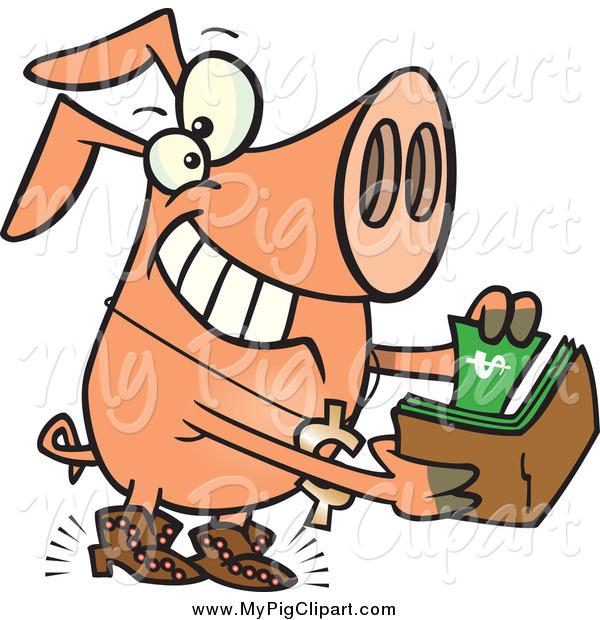 Swine Clipart of a Cartoon Rich Phat Pig Pulling Cash out of His Wallet
