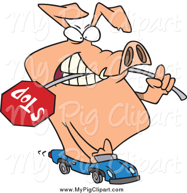: Swine Clipart of a Cartoon Road Hog Driving a Car with a Stop Sign