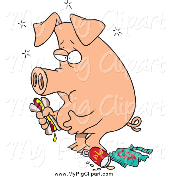 Swine Clipart of a Cartoon Stuffed Pig Eating Junk