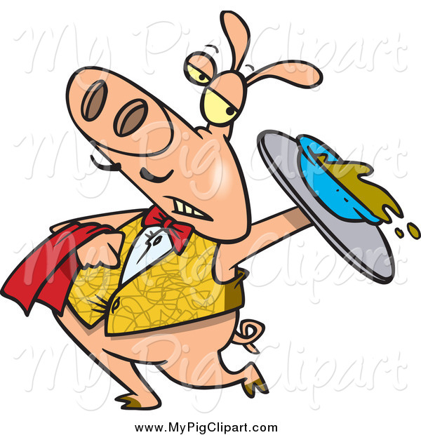 Swine Clipart of a Cartoon Waiter Pig Spilling Slop from a Tray