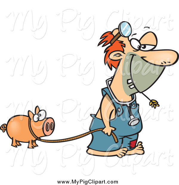 Swine Clipart of a Cartoon White Hillbilly Doctor with a Pig