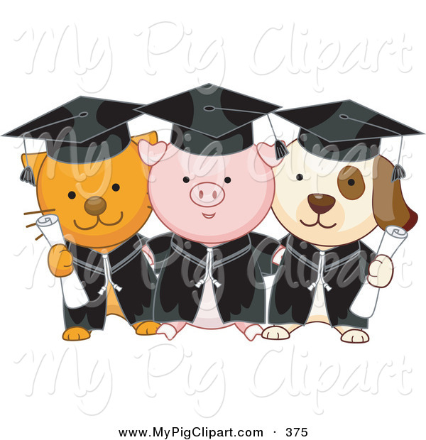 Swine Clipart of a Cat, Pig and Dog Graduate Students Standing and Holding Diplomas