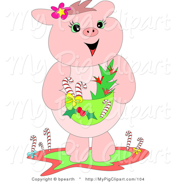 Swine Clipart of a Cheerful Pink Pig Standing and Holding a Basket with Candy Canes