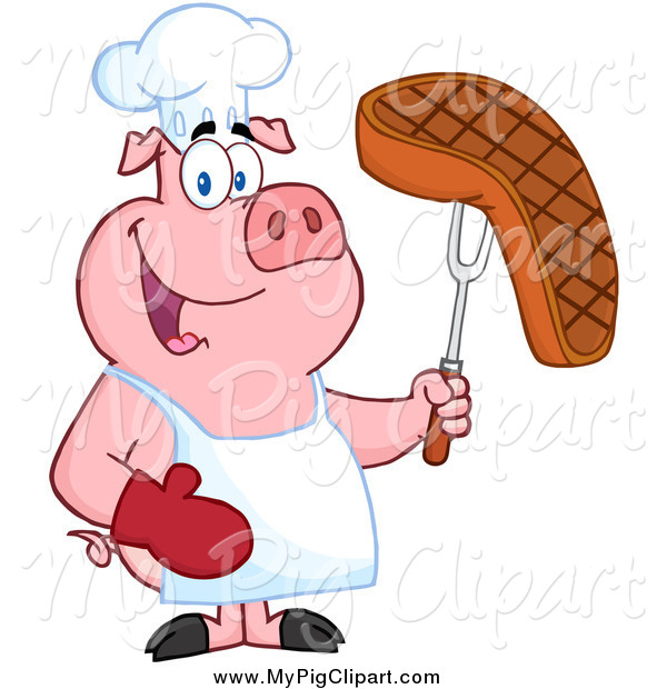: Swine Clipart of a Chef Pig Holding a Steak on a Bbq Fork