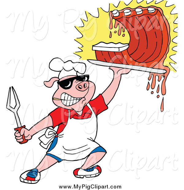 Swine Clipart of a Chef Pig Holding up Saucy BBQ Ribs