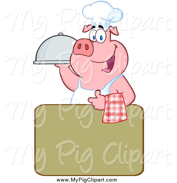 Swine Clipart of a Chef Pig over a Green Sign
