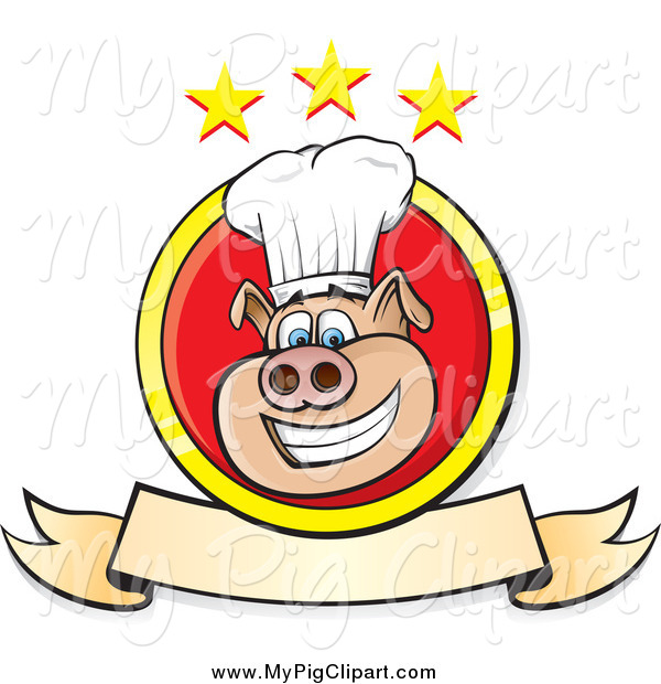 Swine Clipart of a Chef Pig with a Banner and Stars