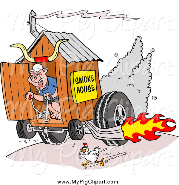 : Swine Clipart of a Chicken Running Away from a Pig on a Hot Rod Smoke House Shack