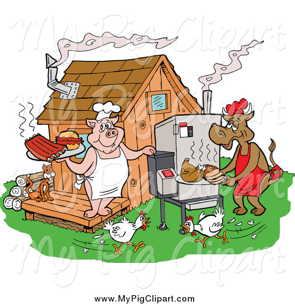 : Swine Clipart of a Chickens Running by a Cow and Pig Using a Smoker and Cooking Meat at a Bbq Shack