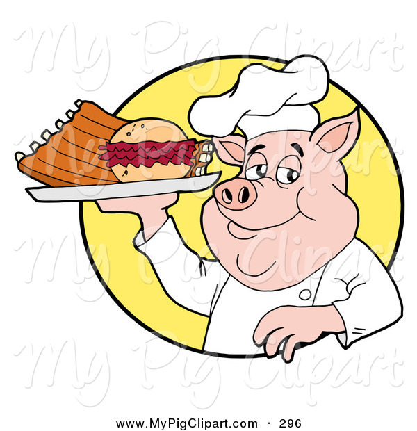 Swine Clipart of a Chubby Chef Pig Holding a Pulled Pork Burger and Ribs on a Plate
