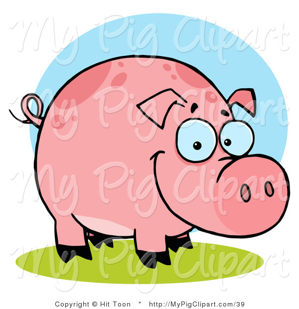Swine Clipart of a Chubby Happy Farm Pig with Spots