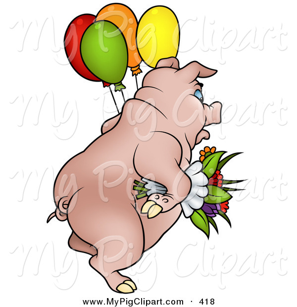 : Swine Clipart of a Chubby Pig Carrying Balloons and Flowers