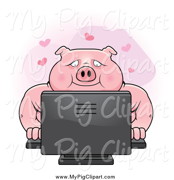 Swine Clipart of a Chubby Pig Using a Desktop Computer for Online Dating