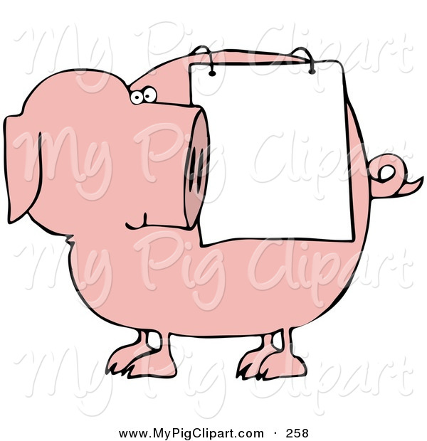 : Swine Clipart of a Chubby Pink Pig Looking Back at a Sign Draped on His Side