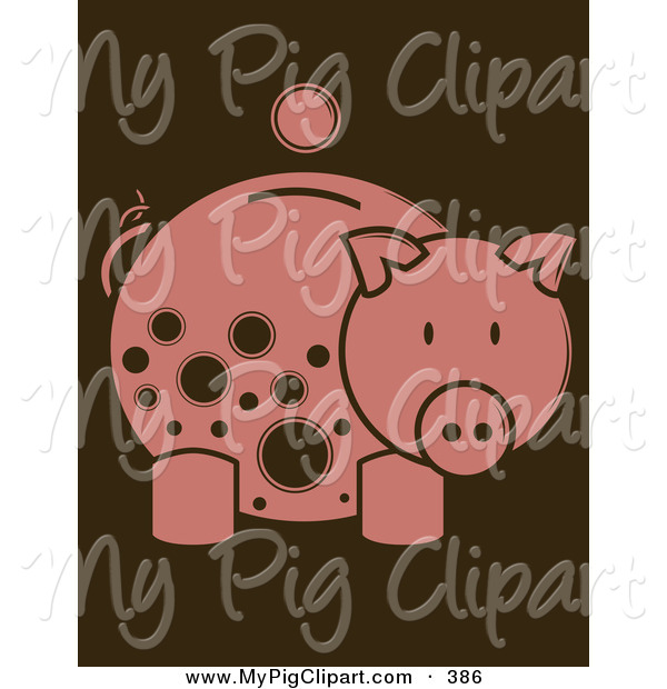 Swine Clipart of a Coin over a Pink Piggy Bank with Brown Spots Looking Right