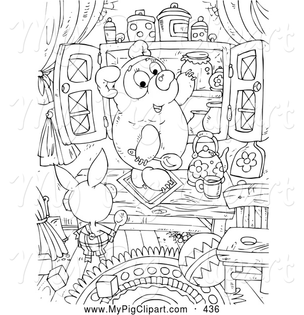 Swine Clipart of a Coloring Page of a Black and White Pig, Bear and Honey Coloring Page Outline